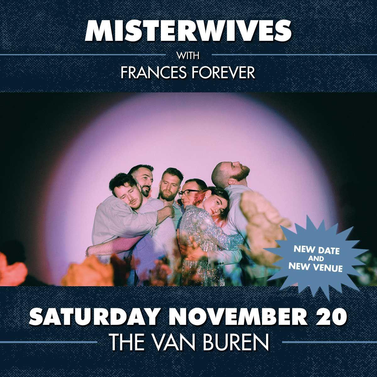 MISTERWIVES: NEW DATE & VENUE SAT 11/20 at THE VAN BUREN