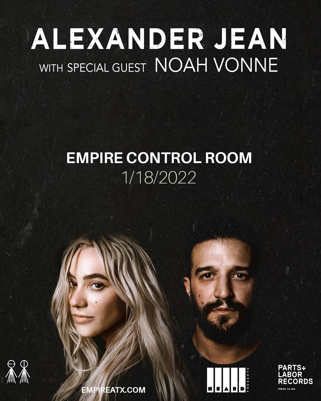 Alexander Jean w/ Noah Vonne (Postponed from 8/15):